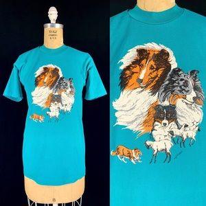 80's Border Collie Working Dog Shirt Single Stitch